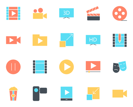 Video silhouette icons set.  96x96 for Web Graphics and Apps.  Simple Minimal Pictograms. Vector