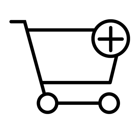 Add Items to Shopping Cart Pixel Perfect Vector Thin Line Icon 48x48 Ready for 24x24 Grid for Web Graphics and Apps with Editable Stroke. Simple Minimal Pictogram