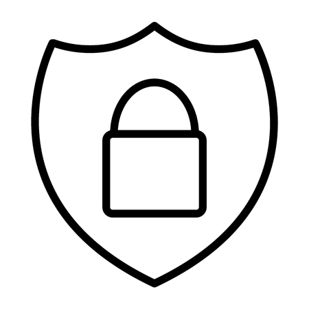 Security Shield With Lock Pixel Perfect Vector Thin Line Icon 48x48 Ready for 24x24 Grid for Web Graphics and Apps. Simple Minimal Pictogram
