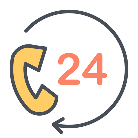 24 Hours Service Support Perfect Vector Thin Line Icon 48x48 Ready for 24x24 Grid for Web Graphics and Apps. Simple Minimal Pictogram