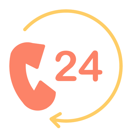 24 Hours Service Support Perfect Vector Icon 48x48 Ready for 24x24 Grid for Web Graphics and Apps. Simple Minimal Pictogram. Illustration