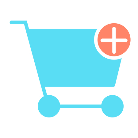 Add Items to Shopping Cart Pixel Perfect Vector Silhouette Icon 48x48 Ready for 24x24 Grid for Web Graphics and Apps with Editable Stroke. Simple Minimal Pictogram Illustration