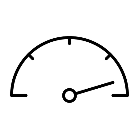 Line icon of a speedometer 96 x 96 for web graphics and apps. Simple and minimal pictogram vector. Ilustração