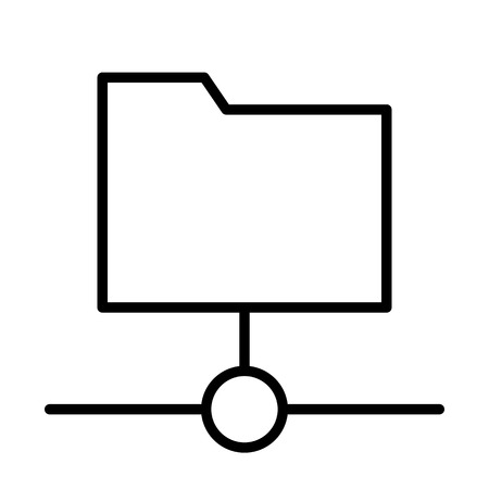 Shared Folder Line Icon.  96x96 for Web Graphics and Apps.  Simple Minimal Pictogram. Vector