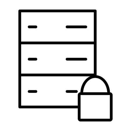 Server Lock Line Icon.  96x96 for Web Graphics and Apps.  Simple Minimal Pictogram. Vector Illustration