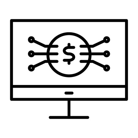 Money Symbol on Computer Screen Line Icon.  96x96 for Web Graphics and Apps.  Simple Minimal Pictogram. Vector