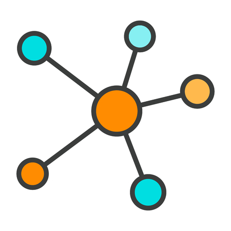 Blockchain Network Line Icon. Nodes Connected into Chain. Distributed Cloud Database for Secure Internet Transactions, Crypto Currency, Transfer Virtual Money via Internet. Simple Minimal Pictogram. Vector Illustration