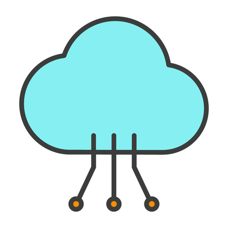 Cloud Line Icon with Circuit Pattern.  96x96 for Web Graphics and Apps.  Simple Minimal Pictogram. Vector
