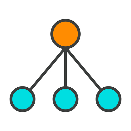 Blockchain Node Line Icon.  96x96 for Web Graphics and Apps.  Simple Minimal Pictogram. Vector Illustration