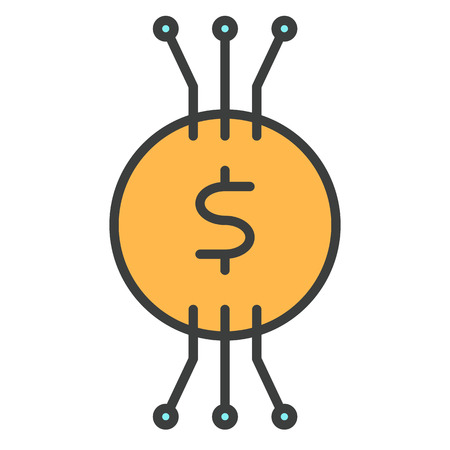 Cryptocurrency Banknote Line Icon for Web Graphics and Application, Simple Minimal Pictogram. Illustration