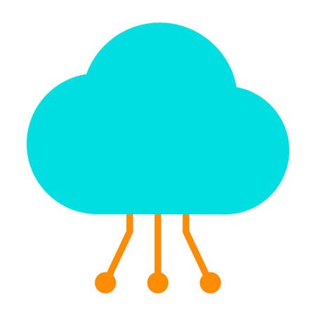 Cloud Icon with Circuit Pattern for Graphics and Apps on Simple Minimal Pictograph.