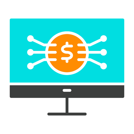 Money Symbol on Computer Screen Icon.  96x96 for Web Graphics and Apps.  Simple Minimal Pictogram. Vector Illustration