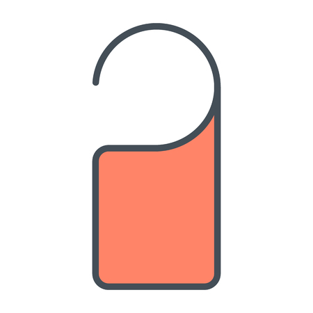 Door label hanging line icon for web graphics and apps. Simple pictogram vector sign.