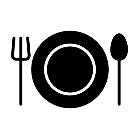 Plate, Fork and Spoon Icon.  96x96 for Web Graphics and Apps.  Restaurant Simple Minimal Pictogram. Cutlery  Vector Sign Illustration