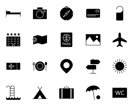 Travel Icons Set.  96x96 for Web Graphics and Apps.  Simple Minimal Pictogram. Vector