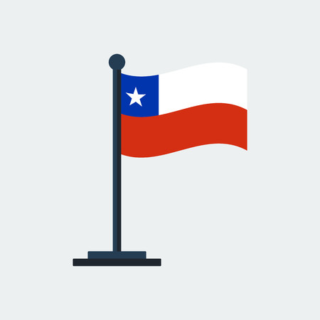 Flag Of Chile.Flag Stand On White Background. Vector Design