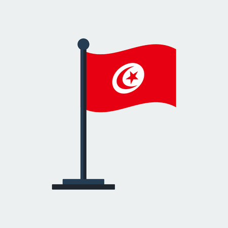 Flag of Tunisia.Flag Stand On White Background. Illusztráció