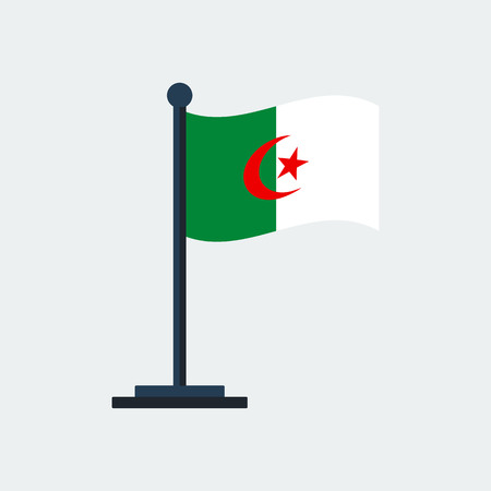 Flag of Algeria.Flag Stand On White Background.  イラスト・ベクター素材