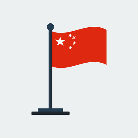 Flag of China.Flag Stand On White Background.