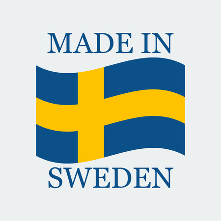 Flag Of Sweden With Text Made In Sweden. Flag Stand On White Background.