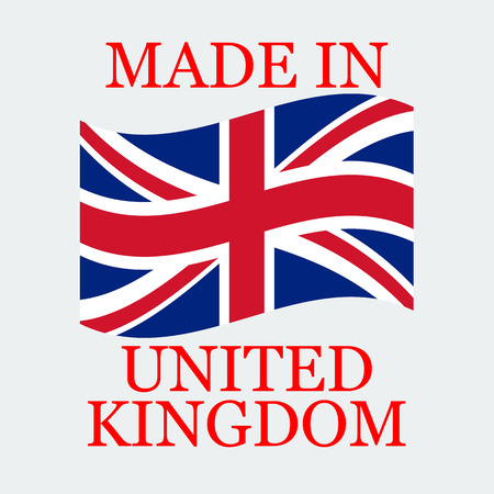 Flag Of United Kingdom  With Text Made In United Kingdom. Flag Stand On White Background.