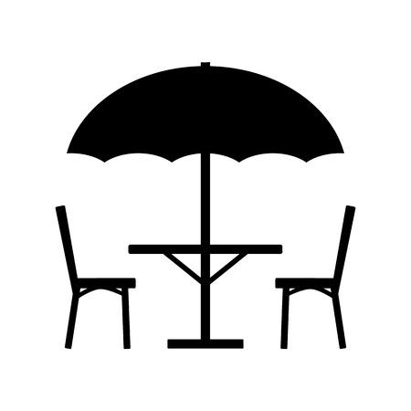 Table Parasol Et Chaises Icône Sur Fond Blanc.Vector Design