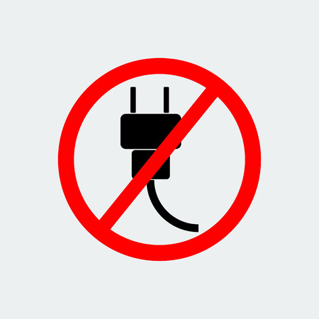 No Plug Icon.Stop Symbol On White Background.Vector Design Illustration