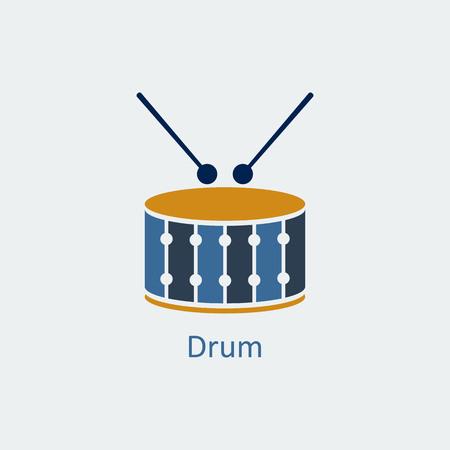 Colored Drum icon. Musical symbol. Silhouette vector icon Illustration