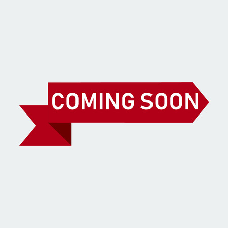Coming Soon Red Ribbon Banner. On White Background.