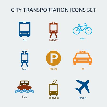 Colored City and public transportation icons set. Silhouette vector signs Vektoros illusztráció