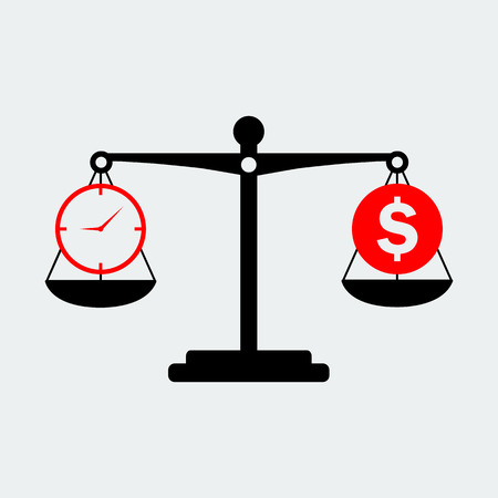 Black Scales Balance Money And Time Icon. Vector Design Illustration