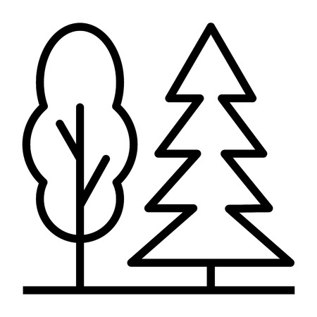 Trees Thin Line Icon 48x48 Ready for 24x24 Grid for Web Graphics and Apps. Simple Minimal Pictogram.Vector Illusztráció