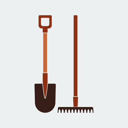 Shovel and Rake Icon.Flat Design.Gardening tools design.Vector illustration
