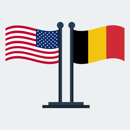Flag Of  United States And Belgium .Flag Stand On White Background. Vector Design Illusztráció