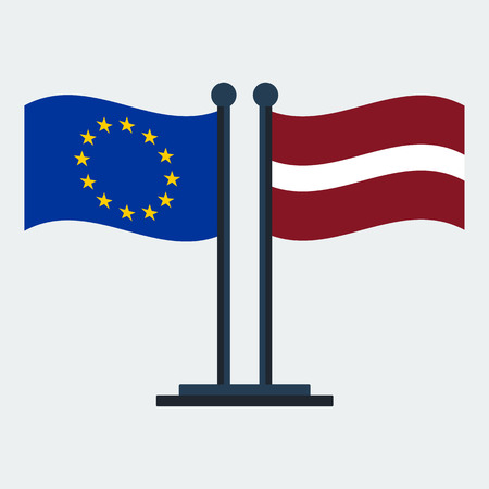 Flag Of Latvia And European Union.Flag Stand On White Background. Vector Design