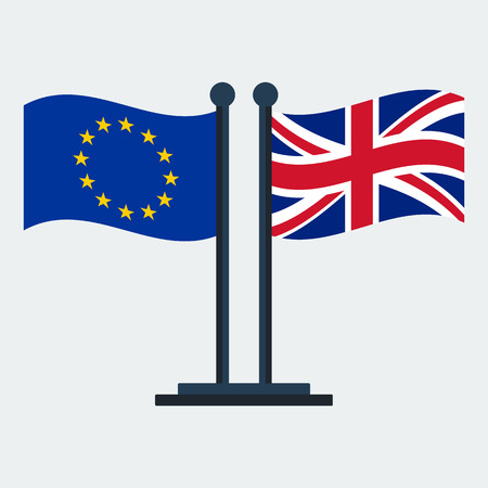 Flag Of United Kingdom And European Union.Flag Stand On White Background. Vector Design