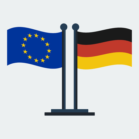 Flag Of Germany And European Union.Flag Stand On White Background. Vector Design  イラスト・ベクター素材