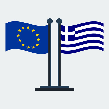 Flag Of Greece And European Union.Flag Stand On White Background. Vector Design  イラスト・ベクター素材