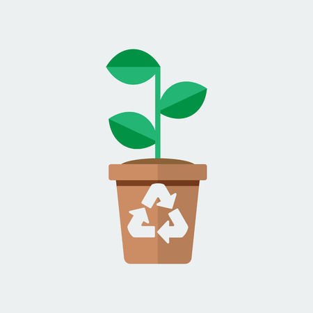 Green plant with pot icon. Isolated On White Background. Vector Design  イラスト・ベクター素材