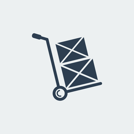 Hand truck Icon.Shipping Inventory.Isolated On White Background. Vector Design