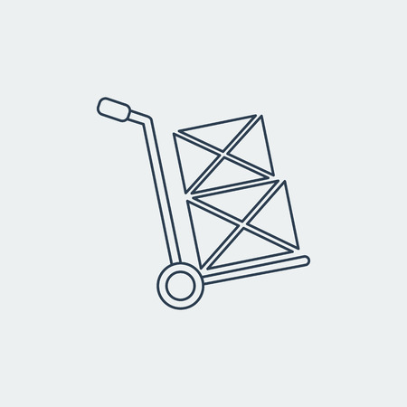 Hand truck Line Icon.Shipping Inventory.Isolated On White Background. Vector Design