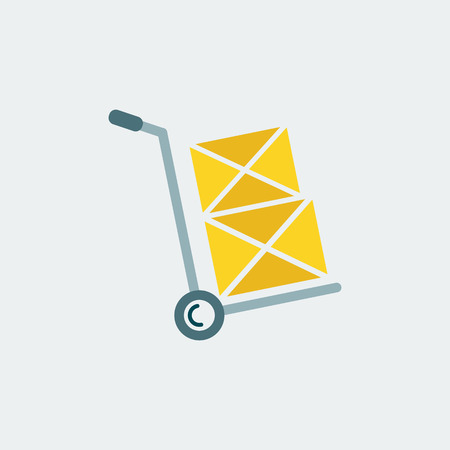 Hand truck Icon.Flat Design.Shipping Inventory.Isolated On White Background. Vector Design