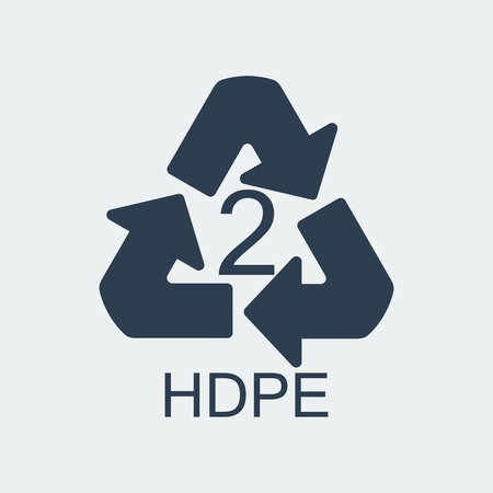 Plastic recycling symbol HDPE 2,Wrapping Plastic, Label. Packing Sign for Food.Vector Design