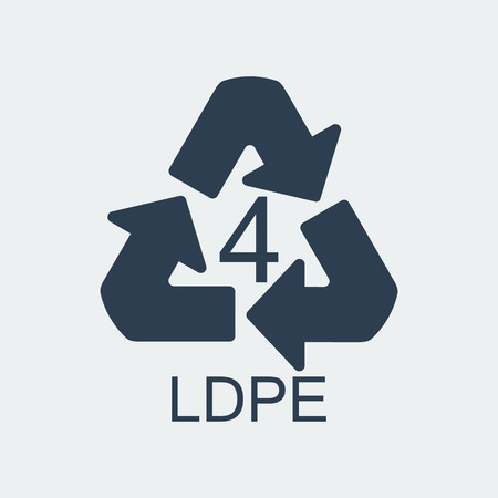 Plastic recycling symbol LDPE 4,Wrapping Plastic, Label. Packing Sign for Food.Vector Design Stock Illustratie