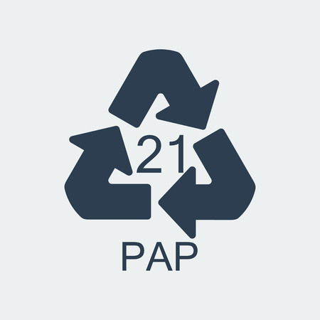 Plastic recycling symbol PAP 21,Wrapping Plastic, Label. Packing Sign for Food.Vector Design