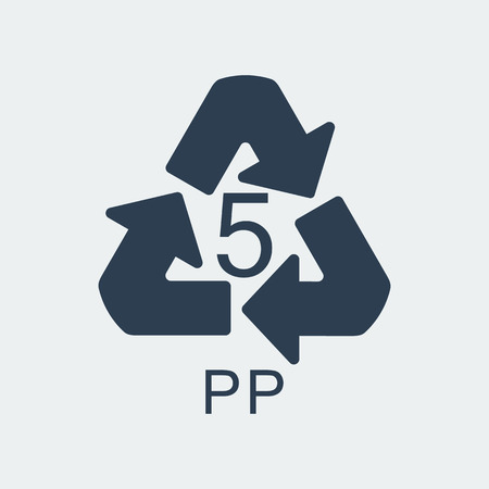 Plastic recycling symbol PP 5,Wrapping Plastic, Label. Packing Sign for Food.Vector Design