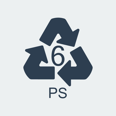Plastic recycling symbol PS 6,Wrapping Plastic, Label. Packing Sign for Food.Vector Design Stockfoto - 115564338