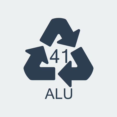 Plastic recycling symbol ALU 41,Wrapping Plastic, Label. Packing Sign for Food.Vector Design Stock Illustratie