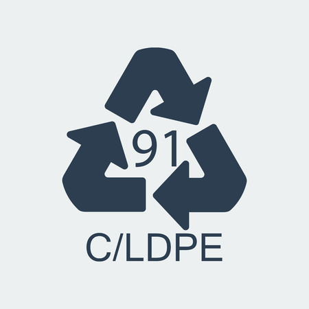 Plastic recycling symbol CLDPE 91,Wrapping Plastic, Label. Packing Sign for Food.Vector Design Vector Illustratie