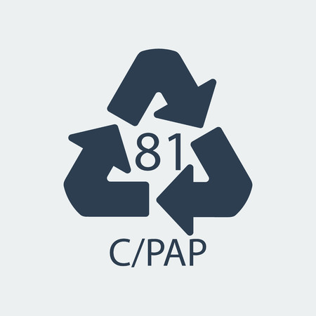 Plastic recycling symbol CPAP 81,Wrapping Plastic, Label. Packing Sign for Food.Vector Design